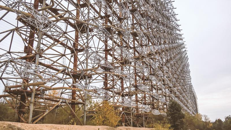 Military secret object antenna radar Doug in Chernobyl Ukraine. Military secret object antenna radar Doug in Chernobyl in Ukraine royalty free stock image