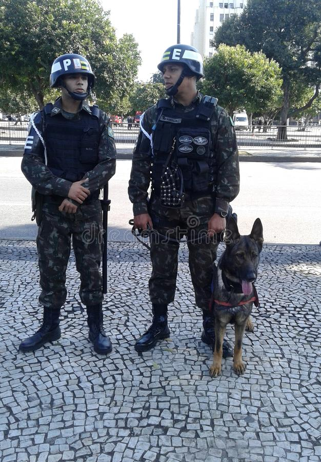 Military security guards and trained dog picture. Brazilian independence day parade. 09-07-2019 Brazilian independence day parade. Military security guards and stock image