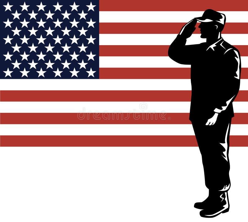 Military serviceman and flag