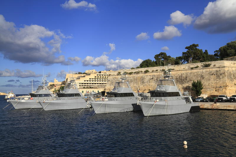 Military Ship in the Grand Harbour of Valletta. In Malta stock photos