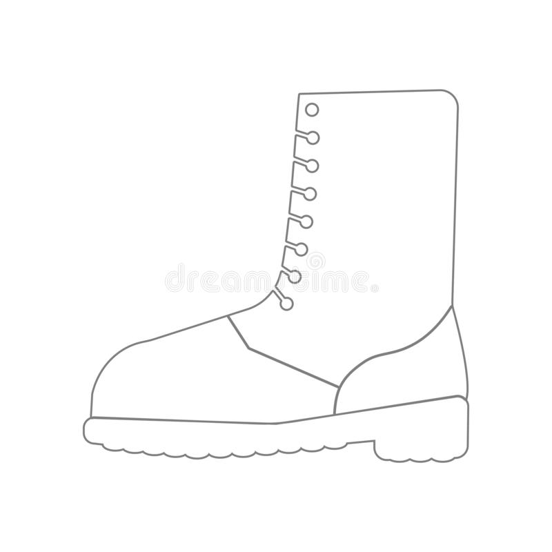 military shoe boots icon. Element of Army for mobile concept and web apps icon. Outline, thin line icon for website design and royalty free illustration