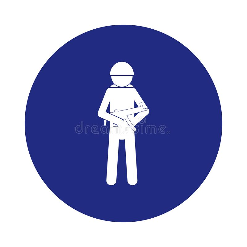 Military silhouette with arms icon in badge style. One of Special services collection icon can be used for UI, UX. On white background vector illustration