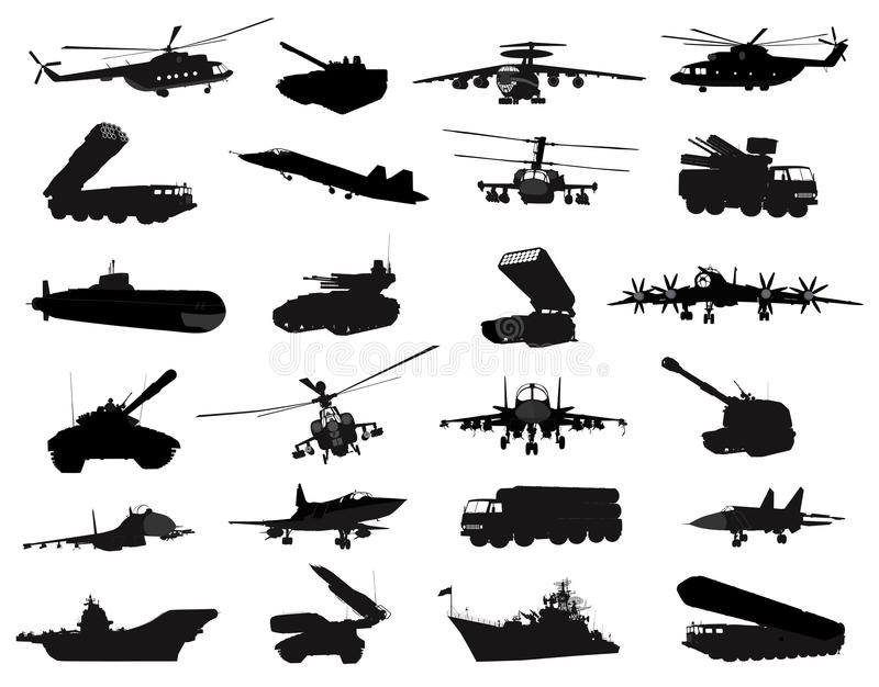 Military silhouettes set stock illustration