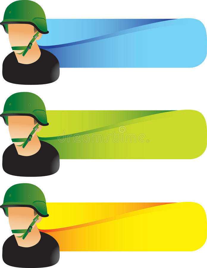 Download Military Soldier On Colored Tabs Stock Vector - Image: 11194259