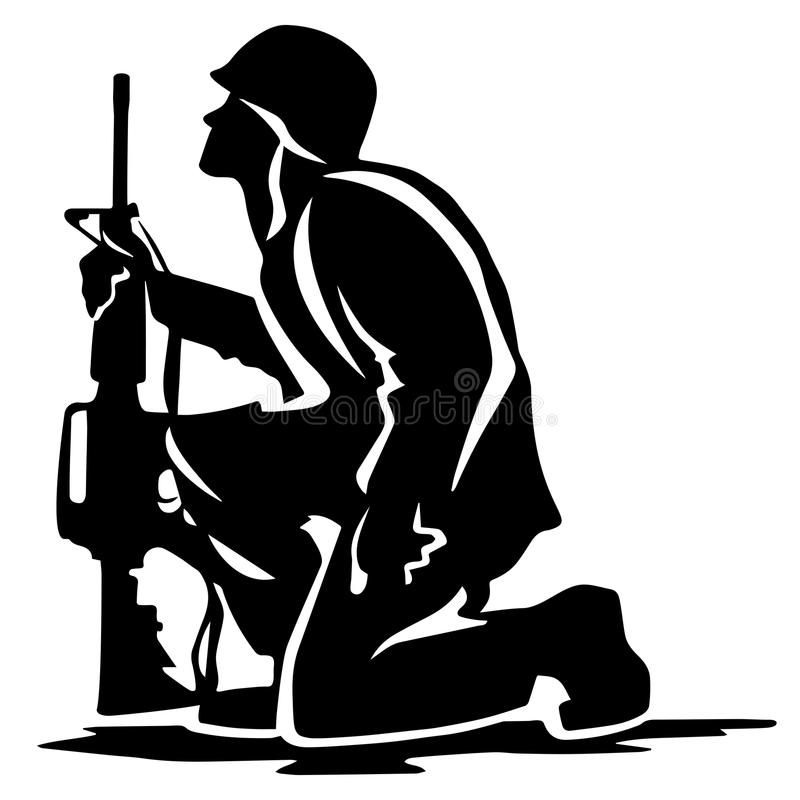 Military Soldier Kneeling Silhouette Vector Illustration stock photography
