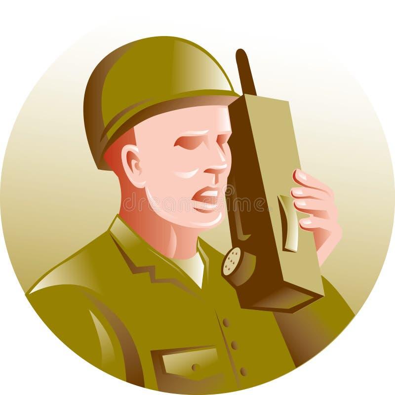 Military Soldier Talking Radio Stock Photo