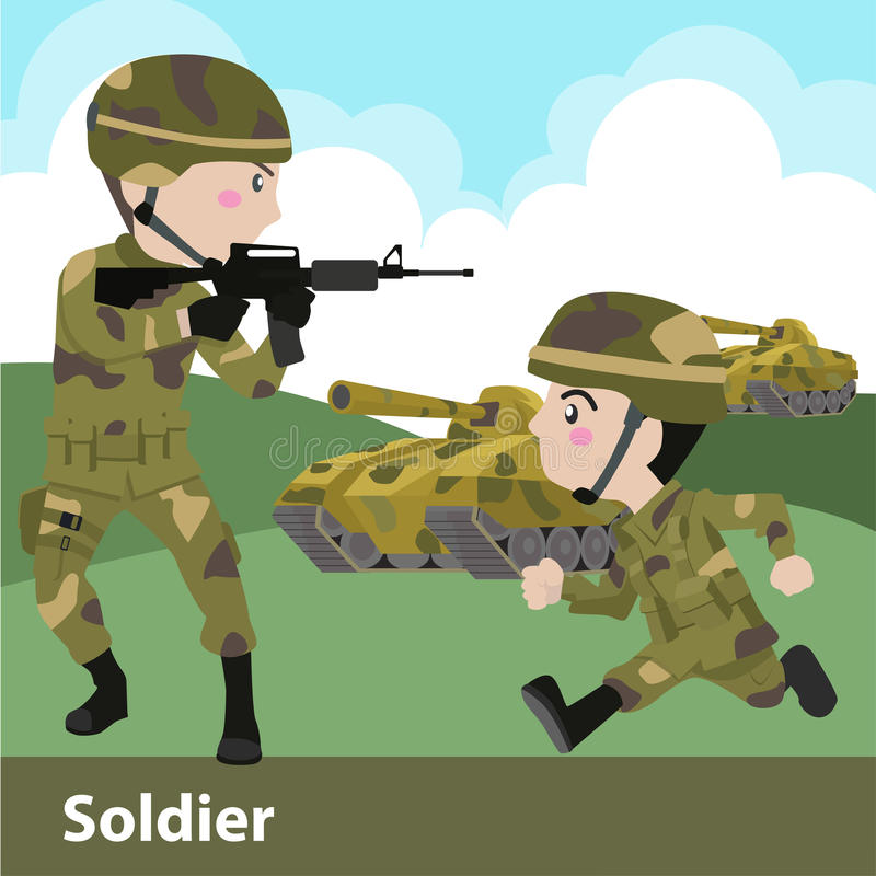Military soldier weapon cartoon vector illustration