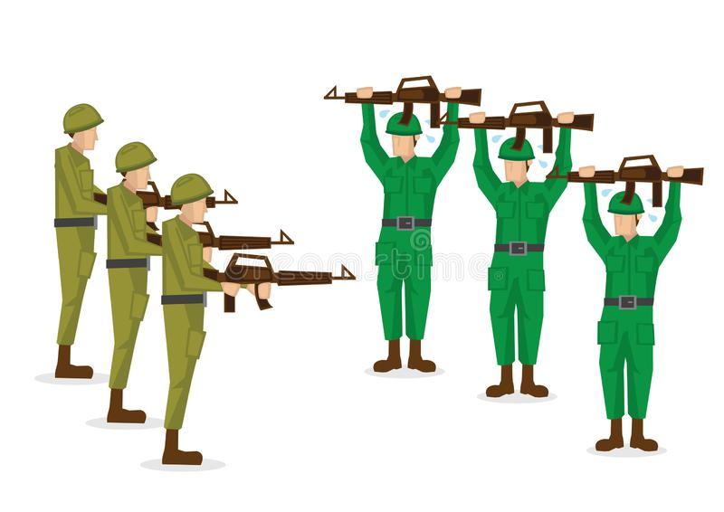 Military soldiers in green uniform surrender in a battle. Vector illustration isolated on white background vector illustration