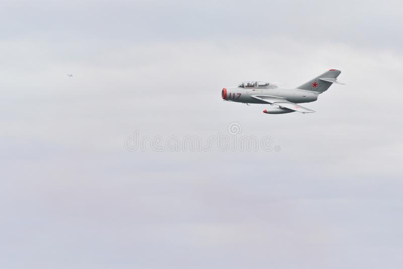 Military Soviet union aircraft MIG 15 stock images