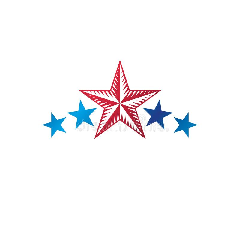 Military Star emblem. Heraldic vector design element, 5 stars gu. Aranty insignia. Retro style label, heraldry logo stock illustration