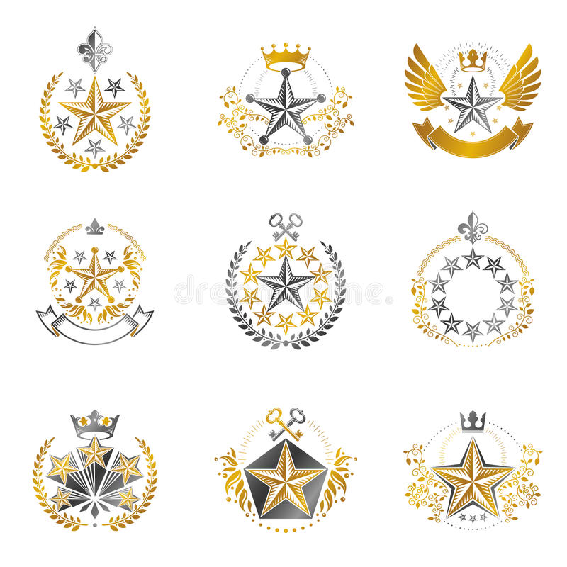 Military Stars emblems set. Heraldic vector design elements coll. Ection. Retro style label, heraldry logo vector illustration