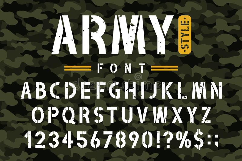 Military stencil font on camouflage background. Rough and grungy stencil alphabet with numbers in retro army style royalty free illustration
