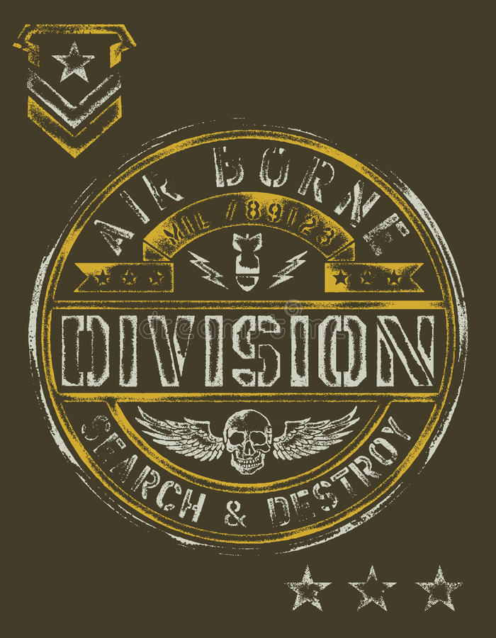 Military Stencil Vintage T-shirt Graphic Stock Illustration