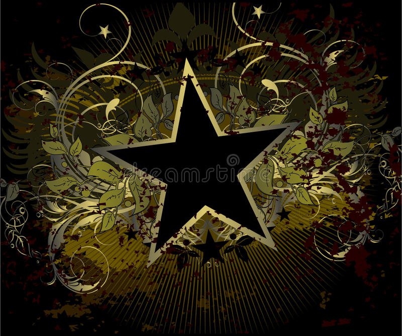 Military stile star background. With floral elements, this illustration may be useful as designer work