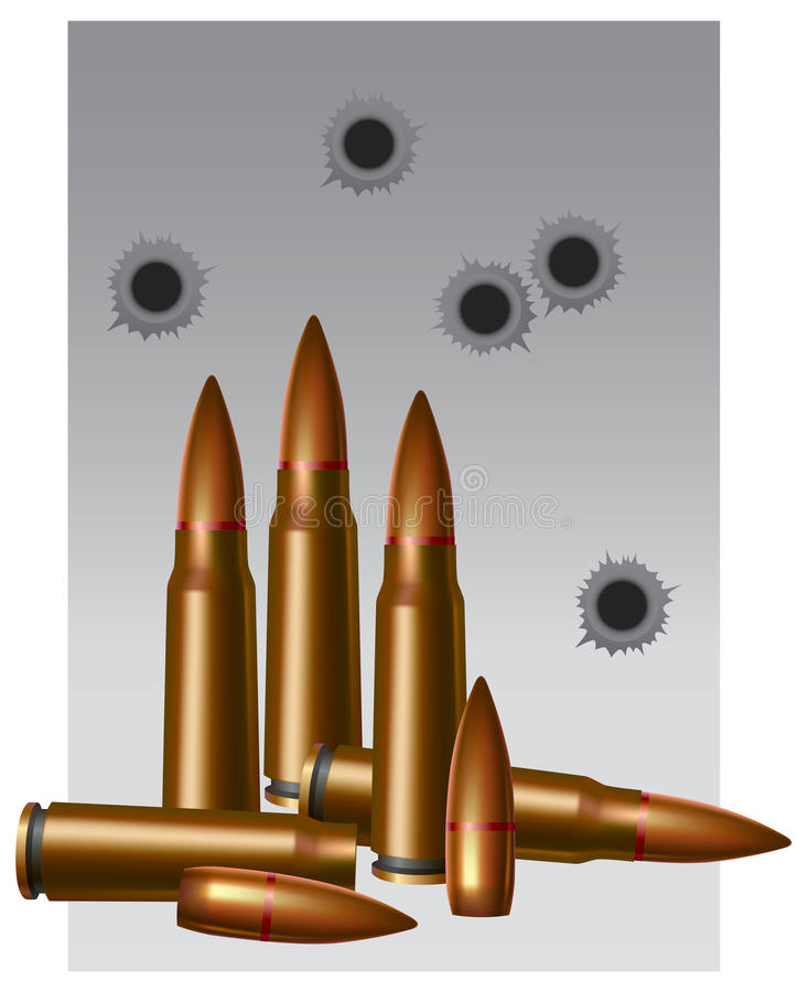Military still-life. Illustration with the image of an ammunition stock illustration