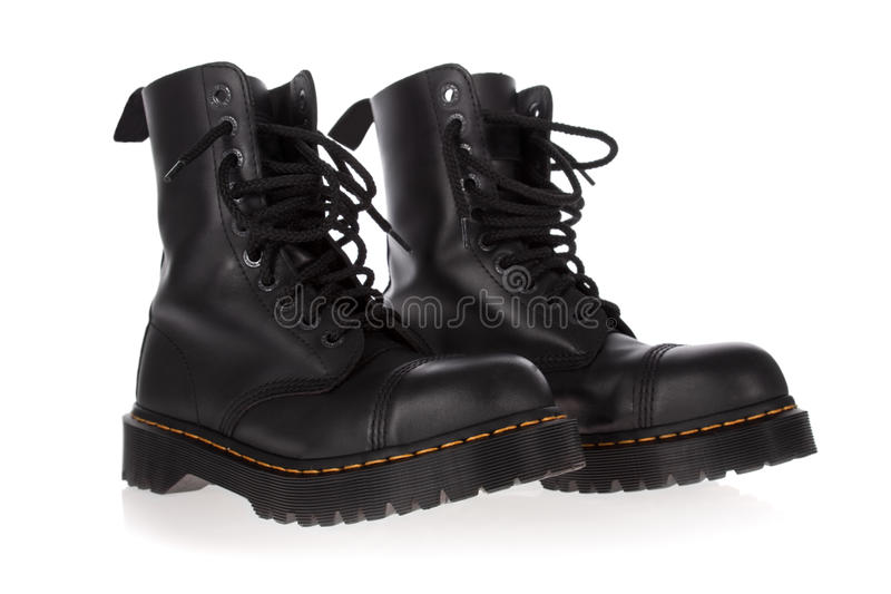 Download Military Style Black Boots Isolated Stock Image - Image of vintage, punk: 27189053