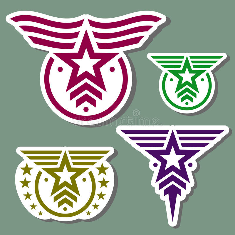 Military style logo set vector illustration