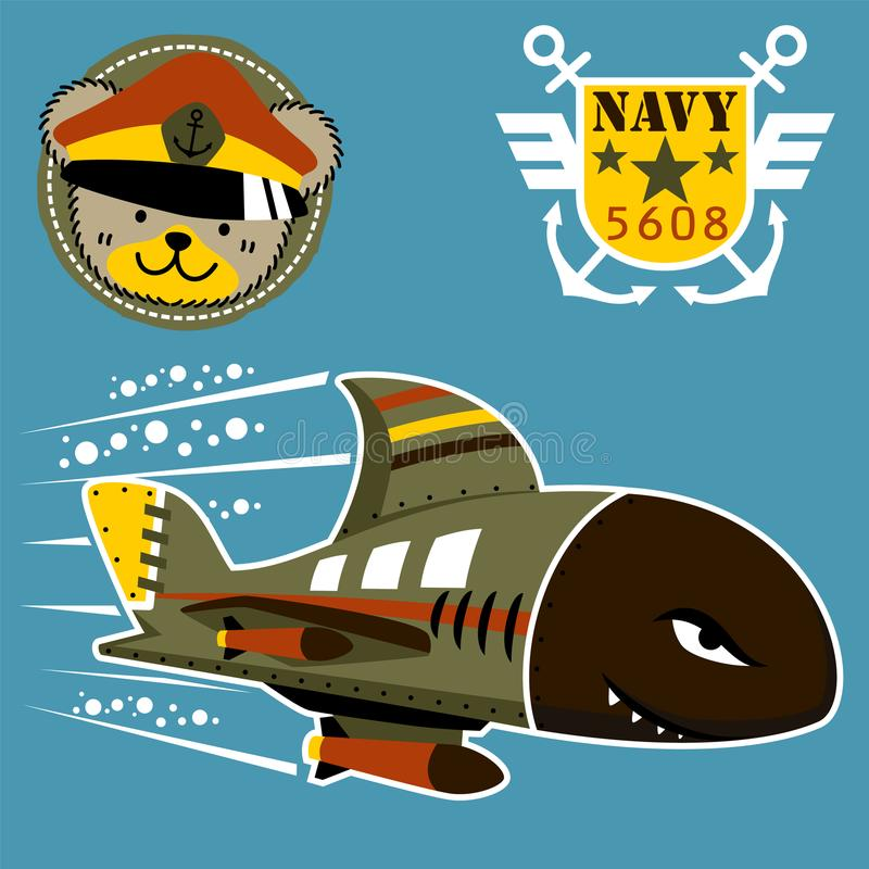 Military submarine cartoon on sea war with military logo and troops vector illustration