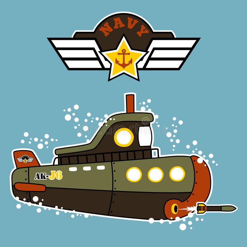Military submarine cartoon underwater royalty free illustration