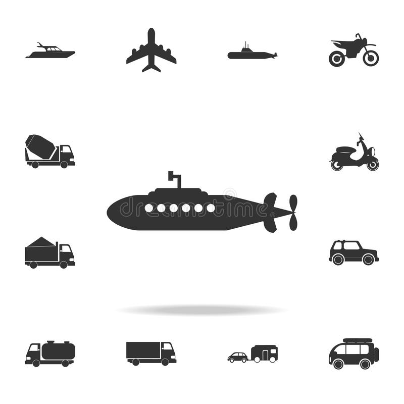 Military submarine icon. Detailed set of transport icons. Premium quality graphic design. One of the collection icons for websites stock illustration