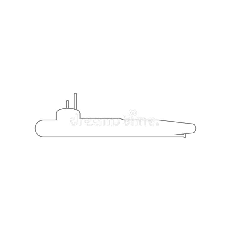 Military submarine icon. Element of Army for mobile concept and web apps icon. Outline, thin line icon for website design and stock illustration