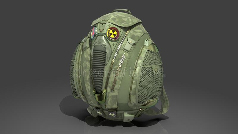Military survivalist backpack in camouflage fabric with decorative gas mask and Geiger counter. 3D rendering royalty free stock image