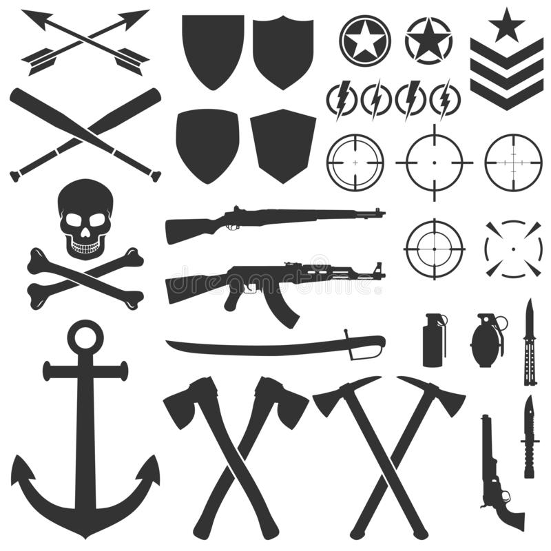 Military symbols and icons. Vector illustration. Army design stock illustration