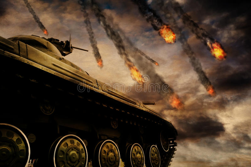 Military Tank on Battlefield. Retro army tank in the field of battle, military background royalty free illustration