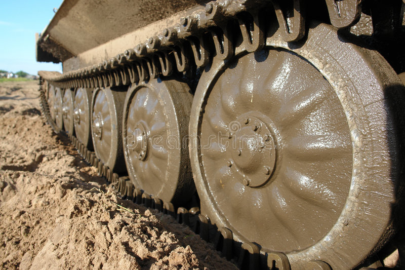 Military tank caterpillar, mudded. royalty free stock photos
