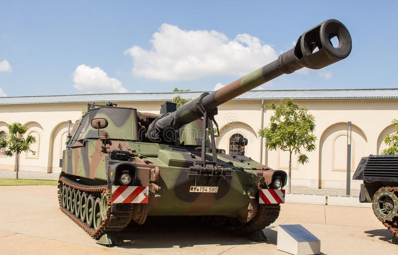 Military tank German armoured - howitzer 2000. Military tank armoured-howitzer 2000 German Army. German Name: Panzerhaubitze 2000. 155 mm self-propelled howitzer stock photography