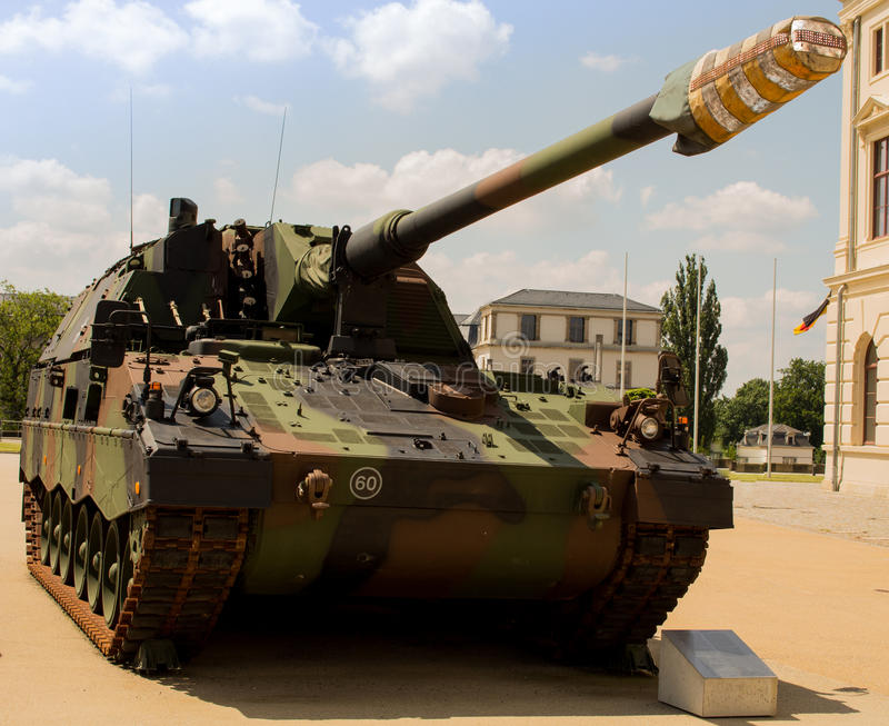 Military tank German armoured - howitzer 2000. Military tank armoured-howitzer 2000 German Army. German Name: Panzerhaubitze 2000. 155 mm self-propelled howitzer stock image