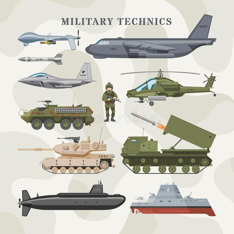 Military technics vector army transport plane and armored tank or helicopter illustration technical set of armored vector illustration