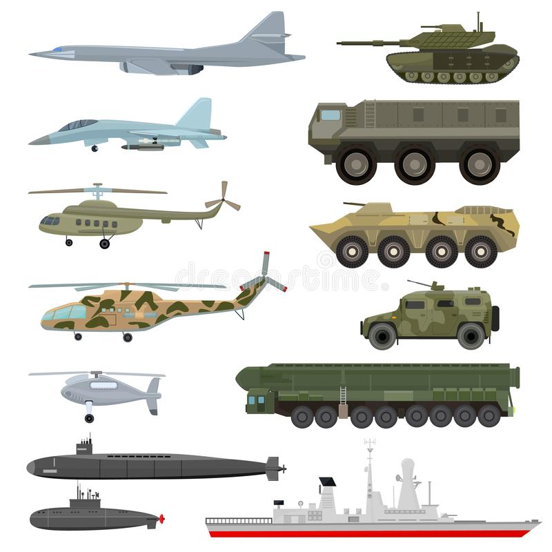 Military technics vector army transport plane and armored tank or helicopter illustration technical set of armored stock illustration