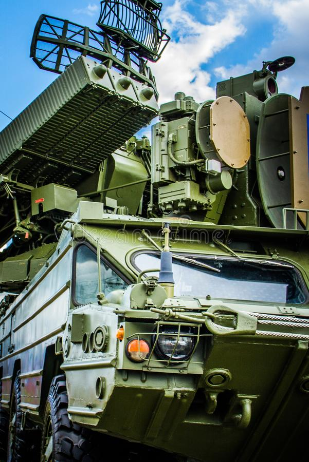 Military Technique. Military Tank Power Military Anti-aircraft Gun Radar Green Defense Background Wallpaper Technique royalty free stock photos