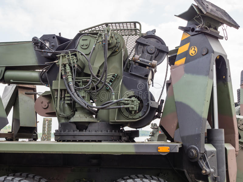 MIlitary tow truck. ALMERE, NETHERLANDS - 23 APRIL 2014: Part of a Dutch military tow truck on display during the National Army Day in Almere which can be royalty free stock image