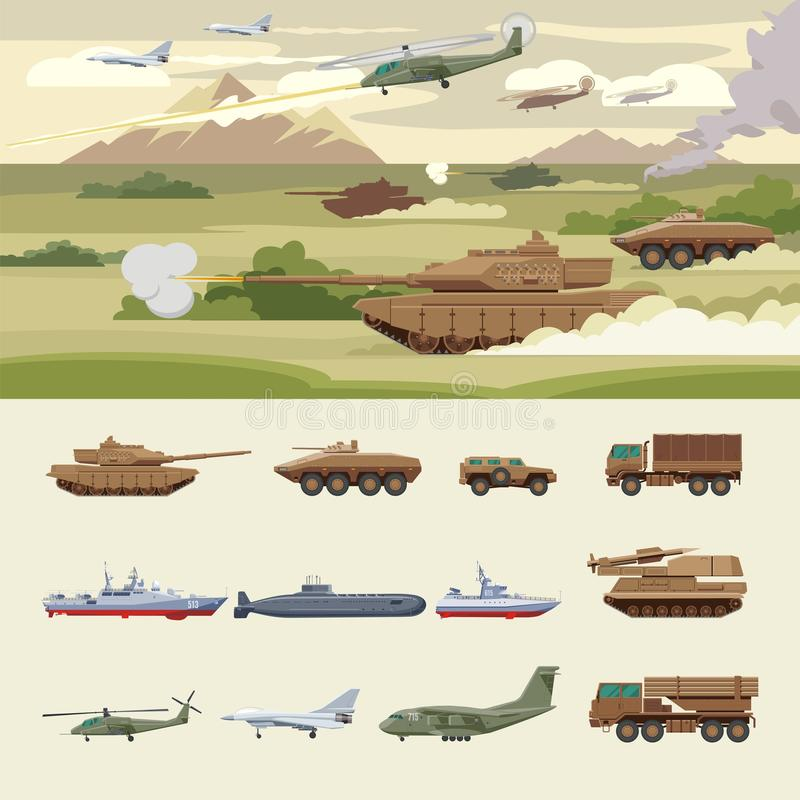 Military Transport Concept. With tanks ground machines ships submarine airplanes helicopters truck anti aircraft protection vehicles vector illustration royalty free illustration