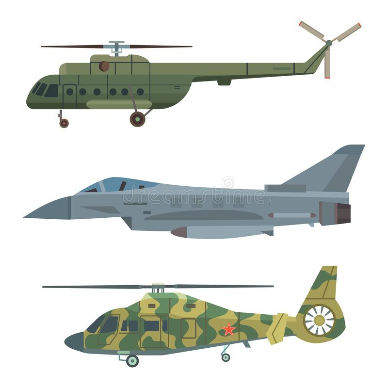 Military transport vector helicopter technic army war plane and industry armor defense transportation weapon. Illustration. Exhibition international fighting royalty free illustration