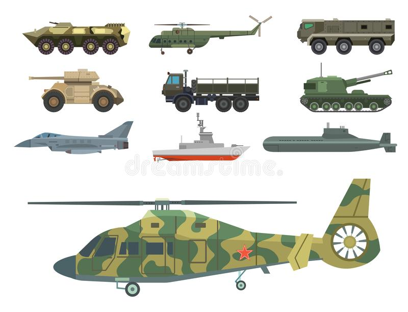 Military transport vector vehicle technic army war tanks and industry armor defense transportation weapon illustration. Exhibition international fighting stock illustration