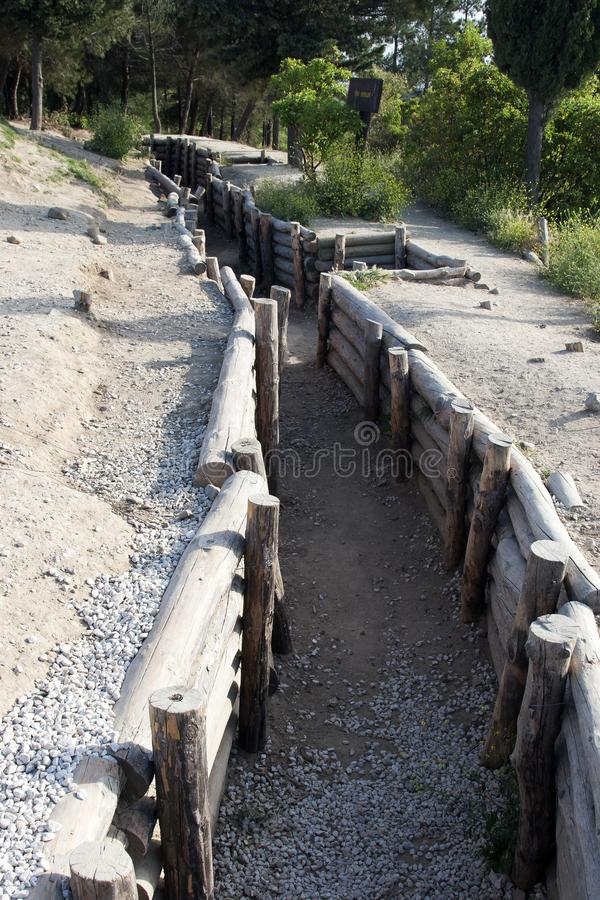 Military trench, in the Gallipoli Battle fields in Turkey royalty free stock photography