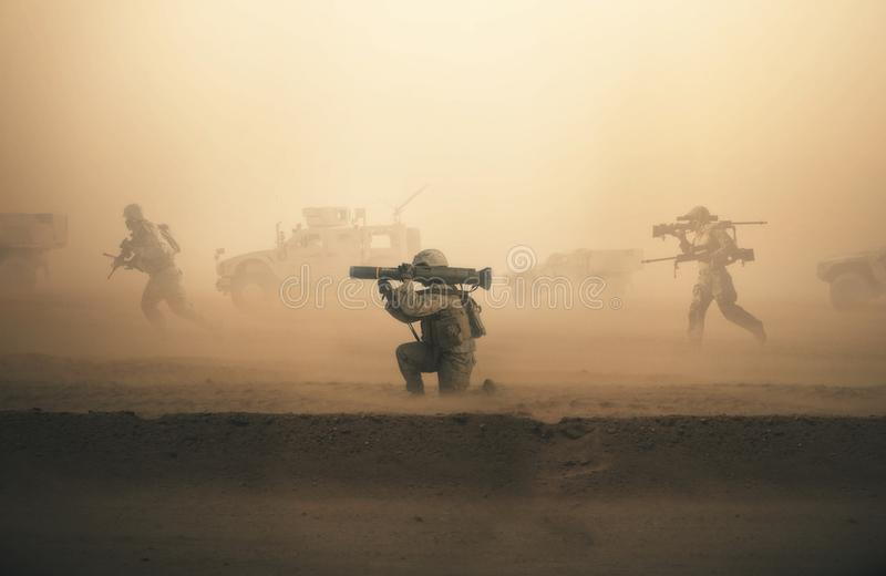 Military troops and machines on the way royalty free stock photo