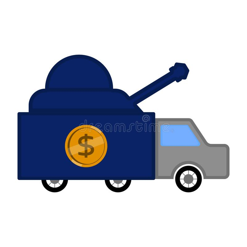 Military truck with a dollar coin royalty free illustration