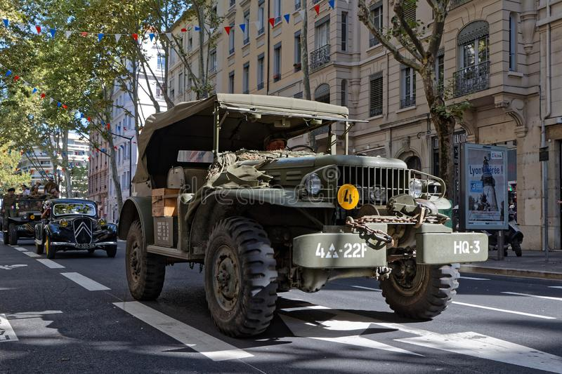 Military truck in Lyon royalty free stock image
