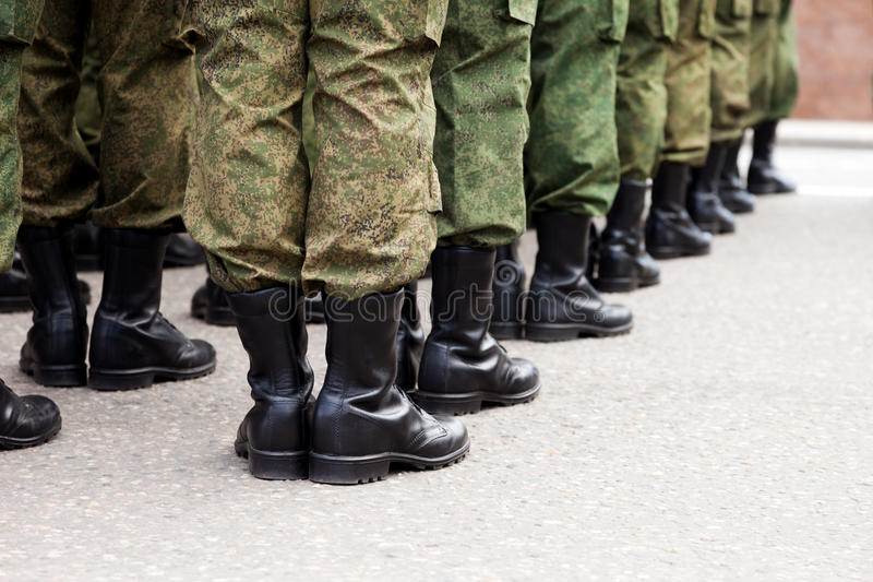 Military uniform soldier row royalty free stock image