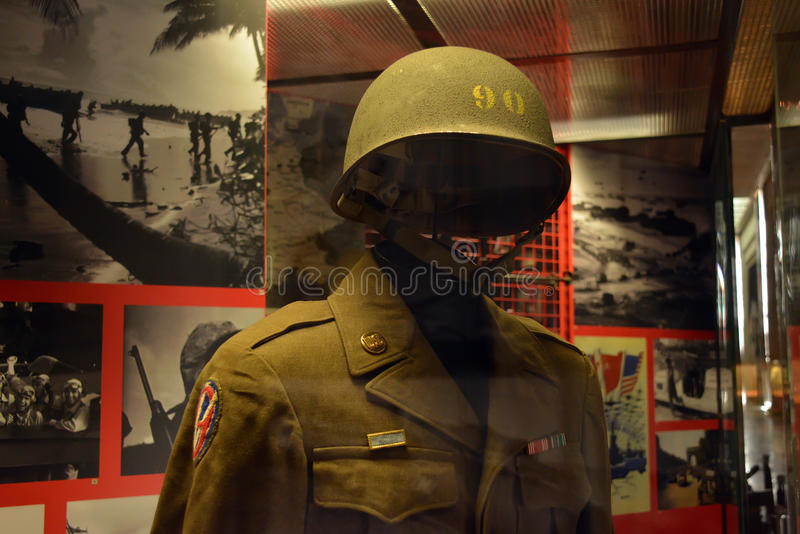 Military uniforms of allied forces. During the Second World War, Museum of Military Glory on Poklonnaya Gora, Moscow city, Russia stock image