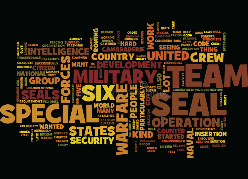 The Military Us Team Six Text Background Word Cloud Concept stock illustration