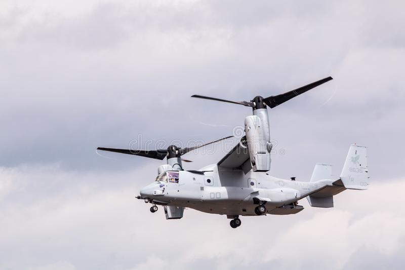 Military V-22 Osprey plane. Hillsboro, OR / USA - August 7 2016: Airshow Military V-22 Osprey plane stock photography
