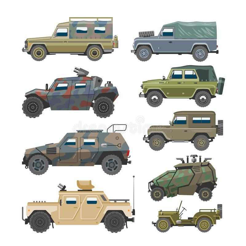 Military vehicle vector army car and armored truck or armed machine illustration set of war transportation isolated on royalty free illustration
