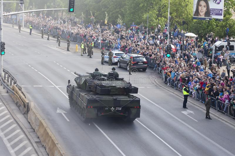 Military vehicles on army parade on May 3, 2019 in Warsaw, Poland. WARSAW, POLAND, May 3: Military vehicles on army parade on May 3, 2019 in Warsaw, Poland royalty free stock photos