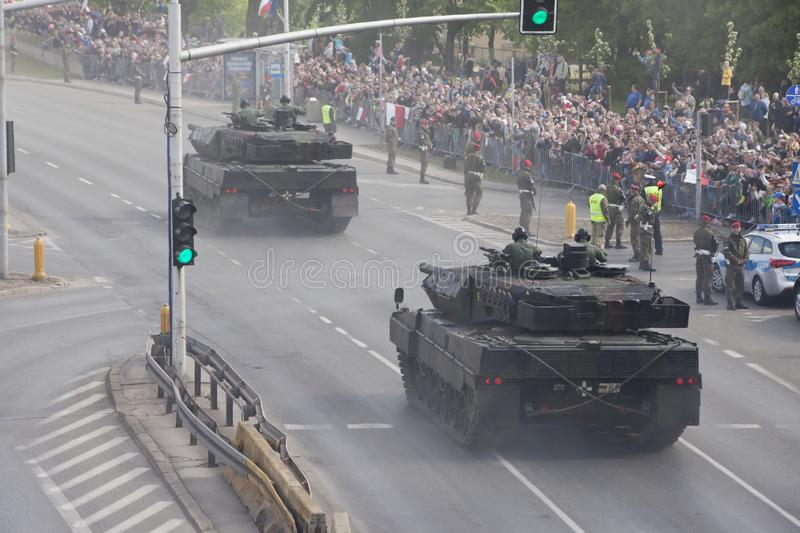 Military vehicles on army parade on May 3, 2019 in Warsaw, Poland. WARSAW, POLAND, May 3: Military vehicles on army parade on May 3, 2019 in Warsaw, Poland stock photos