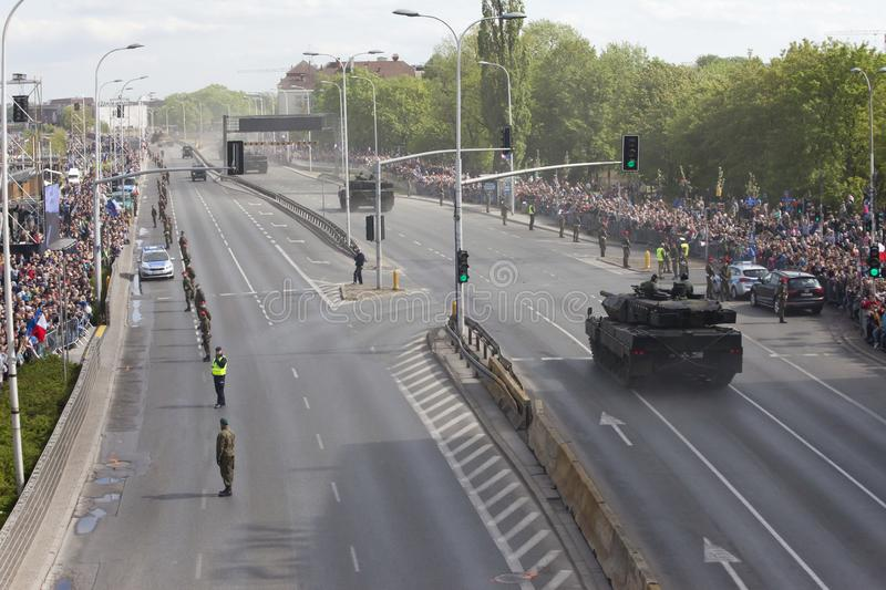 Military vehicles on army parade on May 3, 2019 in Warsaw, Poland. WARSAW, POLAND, May 3: Military vehicles on army parade on May 3, 2019 in Warsaw, Poland stock photo